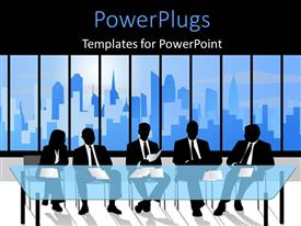 PowerPlugs: PowerPoint template with a number of people waiting for the interview