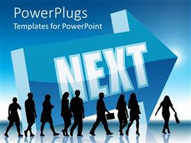 PowerPlugs: PowerPoint template with a number of people walking in the same direction