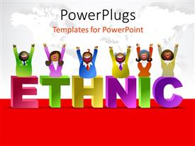 PowerPlugs: PowerPoint template with a number of people with the word ethnic and map in the background