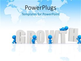 PowerPlugs: PowerPoint template with a number of people with the word growth and map in the background