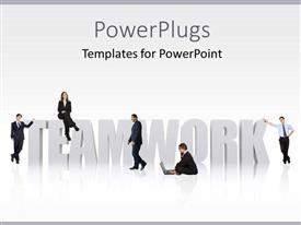 PowerPlugs: PowerPoint template with a number of people with the word hardwork