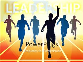 PowerPoint template displaying a number of people with the word leadership on the top