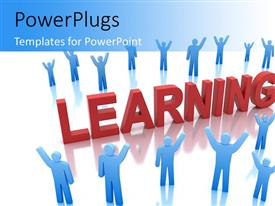 PowerPlugs: PowerPoint template with a number of people the word learning with bluish background