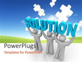 PowerPlugs: PowerPoint template with a number of people with the word solution on their heads