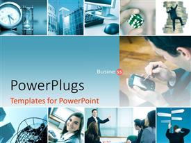 PowerPoint template displaying a number of people working in an office with bluish background