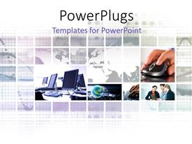 PowerPlugs: PowerPoint template with a number of people working in an office with map in the background