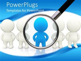 PowerPlugs: PowerPoint template with a number of persons with one person under magnifying glass