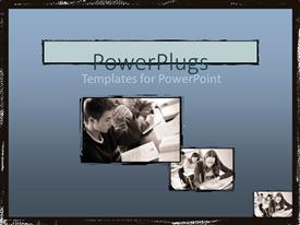 PowerPoint template displaying a number of pictures with bluish background
