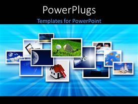 PowerPlugs: PowerPoint template with a number of pictures with bluish background