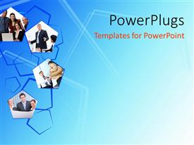 PowerPlugs: PowerPoint template with a number of pictures with bluish background and place for text
