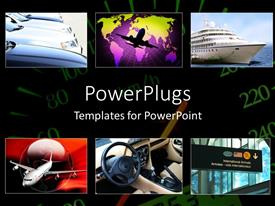 PowerPoint template displaying a number of pictures related to travelling means in the world