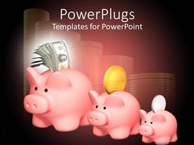 PowerPoint template displaying a number of piggy banks with dollars and coins in the background