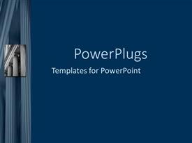 PowerPoint template displaying a number of pillars with bluish background