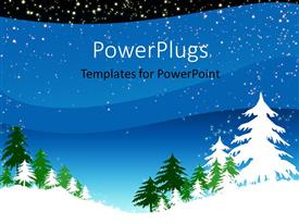PowerPoint template displaying a number of pine trees in winters