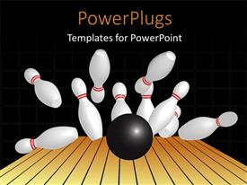 PowerPlugs: PowerPoint template with a number of pins being hit by a bowling ball