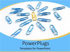 PowerPoint template displaying a number of pins together with one as a leader