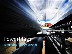 PowerPlugs: PowerPoint template with a number of pipelines with sky in the background