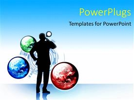 PowerPlugs: PowerPoint template with a number of planets with a person