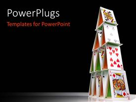 PowerPlugs: PowerPoint template with a number of playing cards making a pyramid shape