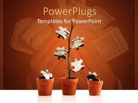 PowerPlugs: PowerPoint template with a number of pots with puzzle pieces as flowers