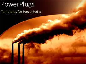 PowerPoint template displaying a number of power plants creating huge clouds of smoke