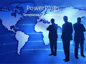 PowerPlugs: PowerPoint template with a number of profesionals with globe in the background