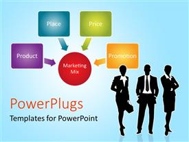 PowerPoint template displaying a number of professional with bluish background