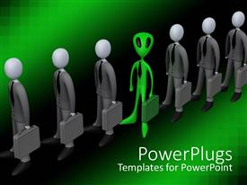 PowerPlugs: PowerPoint template with a number of professionals along with an alien