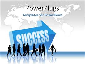 PowerPlugs: PowerPoint template with a number of professionals with an arrow sign