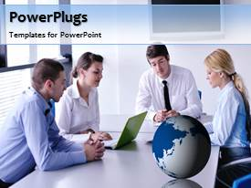 PowerPlugs: PowerPoint template with a number of professionals with a bluish background