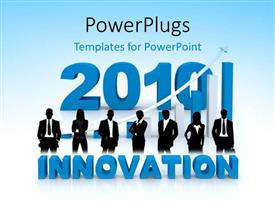 PowerPlugs: PowerPoint template with a number of professionals with bluish background
