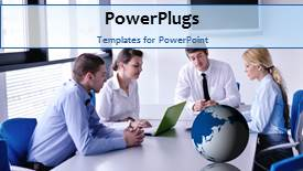 PowerPoint template displaying a number of professionals with a bluish background - widescreen format