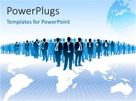 PowerPlugs: PowerPoint template with a number of professionals with bluish background and a globe