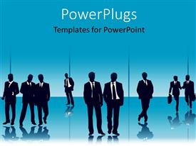 PowerPoint template displaying a number of professionals with bluish background and place for text