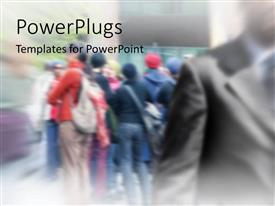 PowerPlugs: PowerPoint template with a number of professionals with blurred background