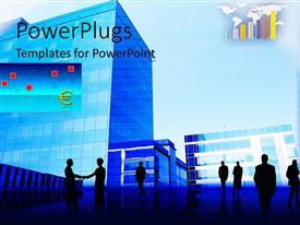 PowerPoint template displaying a number of professionals with buildings in background
