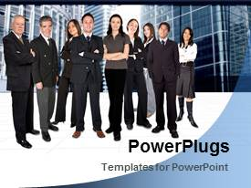 PowerPlugs: PowerPoint template with a number of professionals with buildings in background