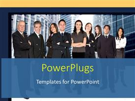 PowerPoint template displaying a number of professionals with buildings in the background