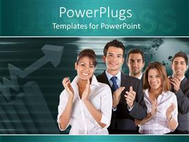PowerPoint template displaying a number of professionals clapping together