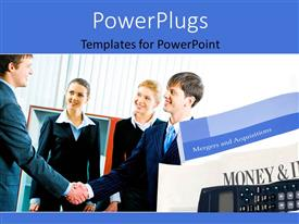 PowerPlugs: PowerPoint template with a number of professionals with curtains in background