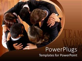 PowerPoint template displaying a number of professionals doing a meeting