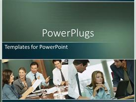 PowerPlugs: PowerPoint template with a number of professionals during a meeting with place for text