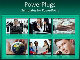 PowerPoint template displaying a number of professionals with greenish background