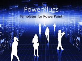 PowerPlugs: PowerPoint template with a number of professionals with light in the background