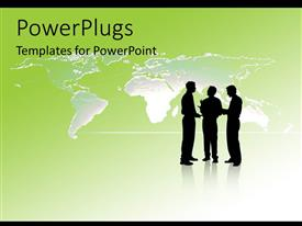 PowerPoint template displaying a number of professionals with a map in the background