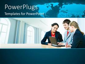 PowerPlugs: PowerPoint template with a number of professionals with map in the background