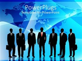 PowerPlugs: PowerPoint template with a number of professionals with map of the Earth in the background