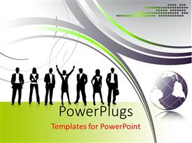 PowerPlugs: PowerPoint template with a  number of professionals with multicolored background