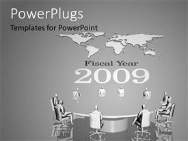 PowerPoint template displaying a number of professionals in the office with maps in background