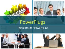 PowerPlugs: PowerPoint template with a number of professionals in the office with white background